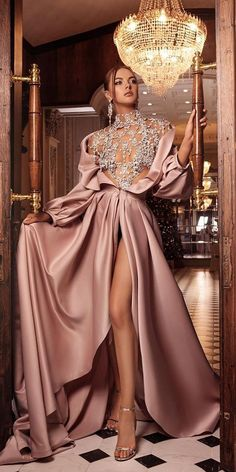 guest outfit formal champagne prom dresses 2020 high neck crystal beading pearls a line side slit floor length evening dresses gowns Glam Dresses, Elegant Dresses, Pretty Dresses, Beautiful Dresses, Fashion Dresses, Formal Dresses, Long Gown Elegant, Couture Dresses Gowns, Dance Dresses