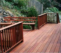 Ipe Wood Railing for Deck Check out plenty Deck Railing Ideas http://awoodrailing.com/2014/11/16/100s-of-deck-railing-ideas-designs/