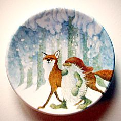 Arabia Finland Fox and Gnome by Lennart Helje (Porcelain and Pottery) at A Vintage Collectibles Showcase Ceramic Artists, Little People, Gnomes, Finland, Fairytale, Vintage Antiques, Sewing Projects, Decorative Plates, Weird