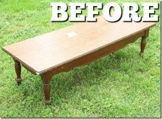 Old coffee table make into ottoman with tufting and fabric