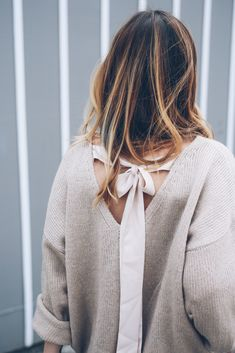 Bow Tie Back Sweater Prosecco & Plaid
