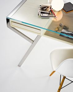 Luì - Desk with tempered glass top and stainless steel structure.  Shelf and drawers in natural ash. Designed by Paolo Maria Fumagalli for Gallotti&Radice.