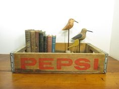 Vintage Wood Pepsi Crate, 1977 Peoria, Illinois Wooden Crate
