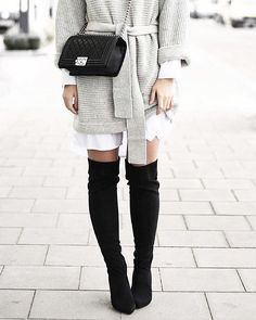 Black over-the-knee boots with a fabulous outfit! // Follow @ShopStyle on Instagram to shop this look