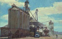 Randall Sexton, Loading Up, oil on linen, 24 x Industrial Artwork, Industrial Paintings, Urban Industrial, Landscape Paintings, Oil Paintings, Landscapes, Building Art, Malm, Art Inspo