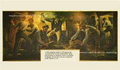 A WPA painting made in 1939 depicts the account of the records and furniture being removed from the Baldwin County Courthouse in Daphne and moved to the new courthouse in Bay Minette in 1901.