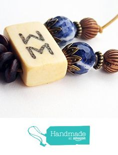ART::WEAR Necklace by Cherie Lester, Vintage Mahjong, Blue Czech Crystal, Wood & Brass Beads on Genuine Leather Cord. from ART::WEAR Necklaces by Cherie Lester https://www.amazon.com/dp/B01MTA5KWL/ref=hnd_sw_r_pi_dp_uBtHyb2743WCF #handmadeatamazon