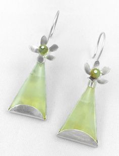 FROGNER, brushed finished sterling silver earrings with opal and jasper by #POLAOSLO DESIGN at www.polaoslodesign.com