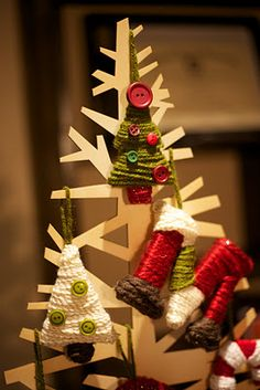 Yarn Wrapped Christmas Ornaments @A Whole Lotta Love Everyday: These are super easy to make they just take a little patience and some Christmas spirit. So turn on some Christmas music, grab a yummy hot beverage and lets get crafting!!! Cardboard, yarn, buttons...how easy is that!!!