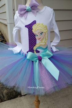 Girls 1st Birthday Tutu Outfit Elsa 1st por MonkeyPantsPartyHats