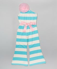 Look what I found on #zulily! Aqua & White Jumpsuit - Infant, Toddler & Girls by Blossom Couture #zulilyfinds