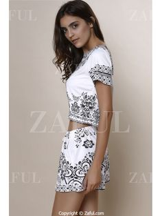Short Sleeve Crop Top + Porcelain Print Shorts Twinset BLACK: Two-Piece Outfits | ZAFUL