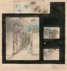 JEAN COCTEAU (1889-1963) Entre hommes, Villlefranche, 1926 Encre de chine et pastel sur papier, signé, situé et daté en bas à droite 25 x 23 cm à vue - 9 3/4 x 9 in. Ink and pastel on paper, signed, situated… - Aguttes - 08/04/2018