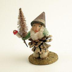 vintage pinecone elf gnome