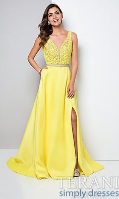 Yellow designer prom gown featuring a jeweled floral lace bodice lined with sequins. The circular mikado skirt comes complete with a jeweled waist. Choose our dresses for your next formal event. Pretty Prom Dresses, Prom Dresses 2016, Formal Dresses, Party Dresses, Prom Dress Stores, Terani Couture, Perfect Prom Dress, Boutique, Designer Dresses