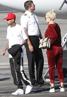 Just the two of us: The 19-year-old reality star was joined by boyfriend Tyga for the flight