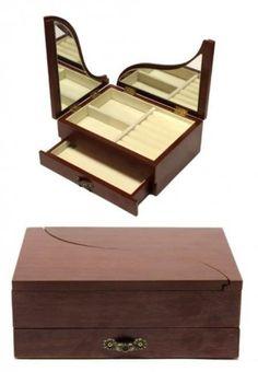Ékszertartó doboz, ékszerdoboz zongoranyílós fedéllel