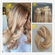 8A Balayage Remy Ombre Thick Blonde Highlighted Clip In Human Hair Extensions  #Ugea #Ombr