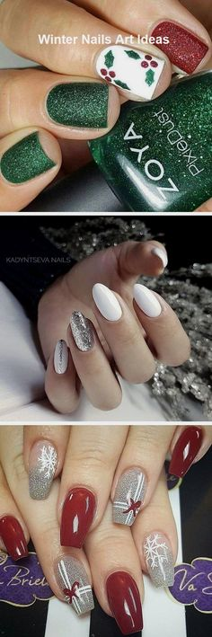 32 Great Ideas Nail Art Design for Wintry Mood 2 - Nails Art Ideas Winter Nail Art, Winter Nails, Cute Nails, Pretty Nails, Christmas Nail Art, Nail Arts, Art Tutorials, Nail Ideas, Nail Art Designs