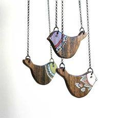 Bird Necklace Wooden Animal Necklace Woodland  Necklace by NUTAK