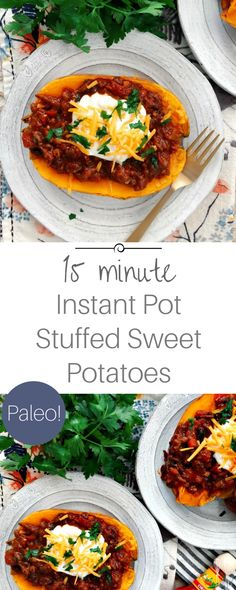 Perfect 15 Minute Instant Pot Sweet Potatoes stuffed with weeknight beef chili! So filling and hearty. Paleo Diet Food List, Paleo Meal Prep, Paleo Dinner, Healthy Weeknight Meals, Quick Meals, Paleo Recipes Easy, Diet Recipes, Yummy Recipes, Paleo Sweet Potato