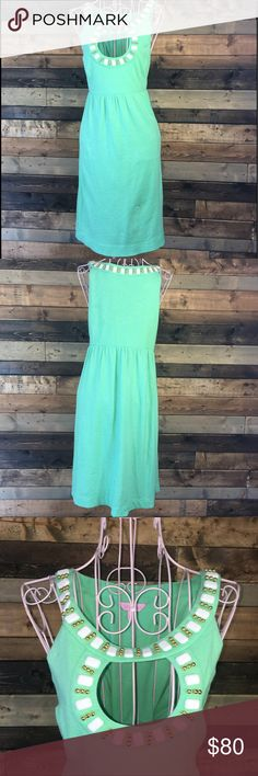 Beaded Light Green Lilly Pulitzer Dress Sz Medium Beaded, light green Lilly Pulitzer dress, size Medium. Good condition. All beads intact.   Length 90 cm Bust 84 cm Waist 80 cm Hip 120 cm Lilly Pulitzer Dresses