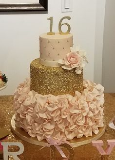 Sweet 16 Blush And Gold Birthday Cake Amy Beck Cake Design within Quince Cake Designs - Cake Design Ideas Sweet 16 Birthday Cake, 18th Birthday Cake, Gold Birthday Party, Girl Birthday, Birthday Cake Designs, Birthday Ideas, Birthday Parties, Birthday Board, Birthday Cupcakes