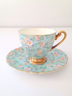 Rare Antique Shelley English Fine Bone China Marguerite Pattern Ripon Shape Teacup and Saucer Tea Party - c. 1940-1966