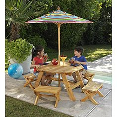 Octagon Table & 4 Benches with Multi-striped Umbrella Children's Patio Furniture Set