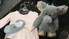 """""""How 'bout you take me 🐘 home? Along with this 💕cute little outfit with a picture of me 🐘 on it! The #elephant sewn on this #supersoft top even has a floppy ear just like 🐘 me!"""" Perfect set 🛍for the favorite #PoshinateKiddo(s) in your life!  Open Sat til 5 or at Poshinate.com   #HeatableStuffedAnimal"""