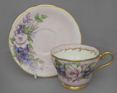 Aynsley vintage china cup, saucer duo, pink & gold c1930s FREE post UK/OVERSEAS reduced shipping