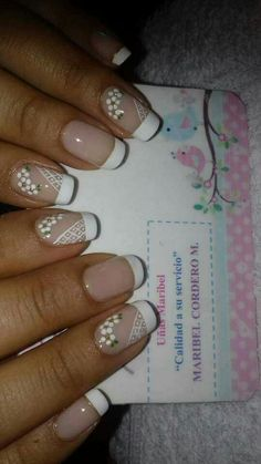 Uñas arte frances Sexy Nails, Glam Nails, Classy Nails, Stylish Nails, Toe Nails, White Nail Designs, Beautiful Nail Designs, Nail Art Designs, Nail Art Hacks
