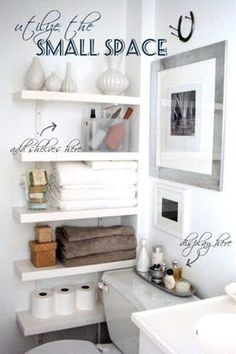 Narrow Shelving makes great use of this tiny bathroom space See more space saving ideas: http://thegardeningcook.com/creative-use-of-space/
