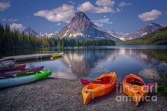 Two Medicine Lake Reflections by Priscilla Burgers #lake #glaciernationalpark