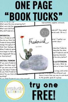 Comprehension questions, vocabulary, mentor sentence, and extensions...all in ONE place! Simply print, tuck, and teach! This is a set of one-page teacher guides for favorite read alouds. Try one for FREE - there's a free download in the preview for Frederick by Leo Lionni! #bookcompanions #mentorsentences