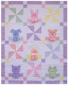 Cute baby quilt idea applique animals with dimensional legs