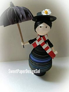 Paper Quilling Art Doll.Mary Poppins. by SweetPaperDesignSol