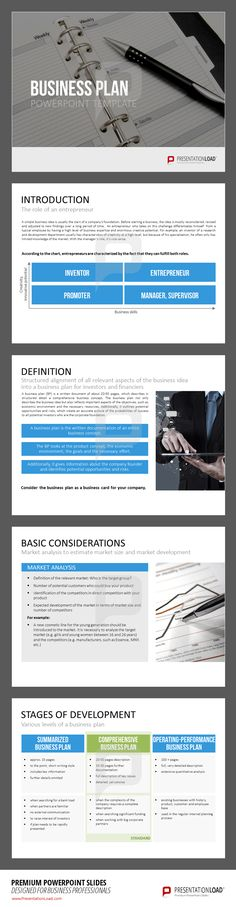 Benefit from our Business Plan Powerpoint templates. A simple business idea is usually the start of a company´s foundation. Before starting business, the idea is mostly reconsidered revised and adjusted to new findings over a long period of time. These templates from PresentationLoad provide you with professional equipment for fiscal planning and for an overall business presentation. Download these templates at www.presentationload.com/business-plan-template-1-2.html