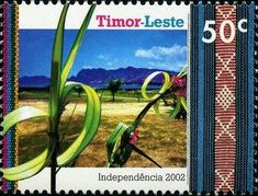 Timor-Leste 2002 - Grass wreaths (East Timor) (Celebrating Independence) Mi:TL 372,Sn:TL 353,Sg:NT-TL 6 Number Stamps, Timor Leste, Southeast Asia, Independence Day, Offset, Laos, Philippines, Wreaths, Prints