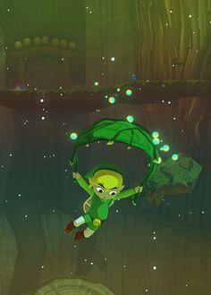 Legend of Zelda Wind Waker - Link gliding on Deku Leaf <- I swear it's the best zelda item ever