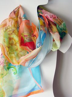 Silk scarves, hand painted, hand dyed by Zita - I have purchased several. Her work is amazing.