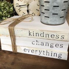 natural home decor Stamped Books kindness changes everything Farmhouse Decor Diy Old Books, Old Book Crafts, Paper Crafts, Diy Crafts, Wooden Crafts, Upcycled Crafts, Tree Crafts, Creative Crafts, Wooden Books