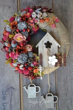 Wreath for front door with flowers and watering cans, garden wreath for house