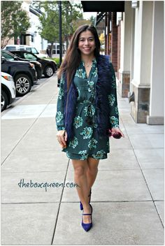 Great fall dress and faux fur vest - Golden Tote October Review