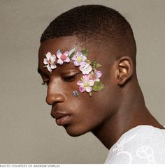 men's floral appliqués, makeup by lauren parson for christopher shannon spring 2013 menswear show, photography by andrew vowles