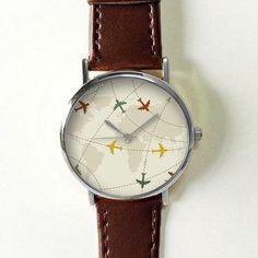 Airplane Route on World Map WatchVintage Style Leather Watch Women Watches Boyfriend Watch Men's watch Ladies Watch Travel