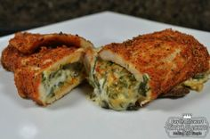 Spinach Dip Stuffed Chicken Breast You Will Need:  1 lb boneless chicken breast (make sure to flatten the chicken breast)  1 cup pepperjack cheese  1 cup cooked spinach (or see below how to cook fresh spinach)  1/2 cup fat free cream cheese (or greek yogurt ;) )  2 Tbsp whole grain breadcrumbs  4 tbsp Cajun seasoning (See this post to make your own)