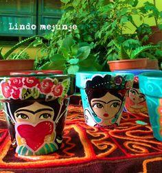 Macetas pintadas a mano,Frida