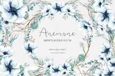 Anemone ClipArt Watercolor Flowers Handpainted by froufroucraft