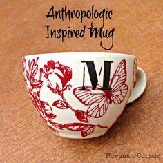 Anthro Inspired Mug made with Martha Stewart Glass Paints   Morena's Corner